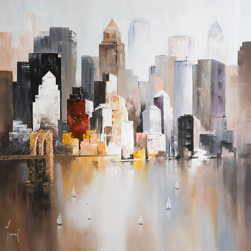 """""""Midtown View from Williamsburg"""" Giclee Lithograph Canvas Print"""