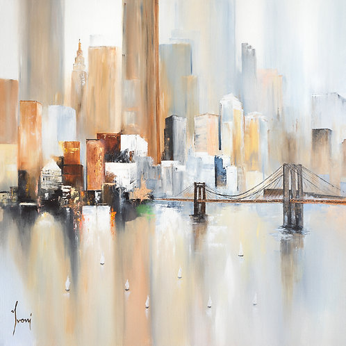"""Midtown - Sailing by the Bridge"" Hand Painted Original"