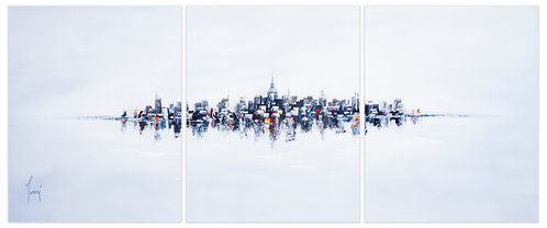"""NYC Skyline - Blue""  Hand Painted Original - Triptych"