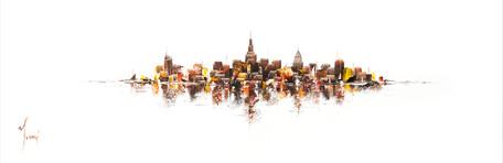 """NYC Skyline - Sienna on White"""