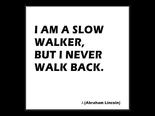 I am a slow walker but I never walk back