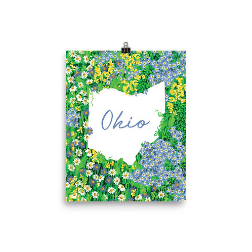 State of Ohio Blue Wildflowers Poster
