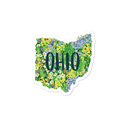 State of Ohio Blue Wildflowers Sticker with Text