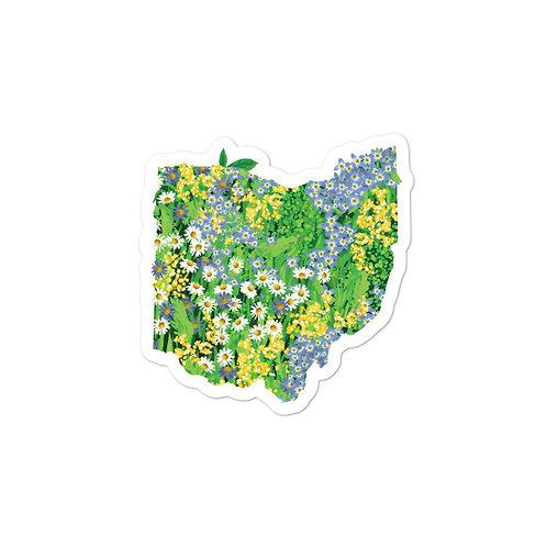 State of Ohio Blue Wildflowers Sticker