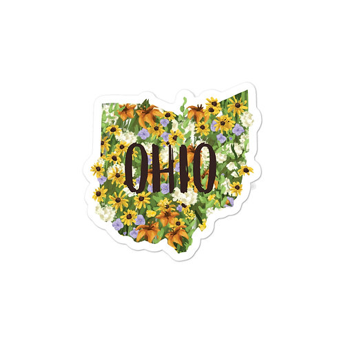 State of Ohio Yellow and Orange Wildflowers Sticker with Text