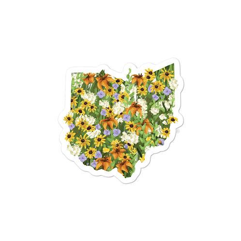 State of Ohio Yellow and Orange Wildflowers Sticker