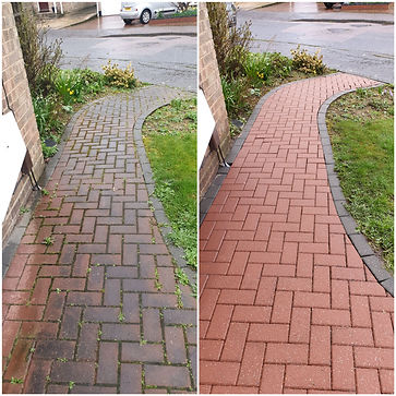 Block paved path cleaning