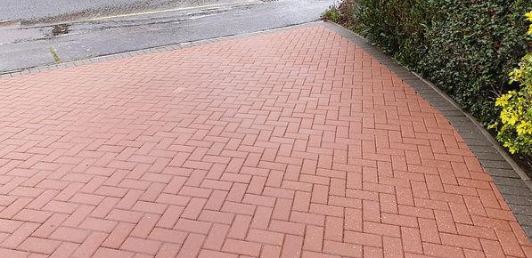 Pressure washed driveway