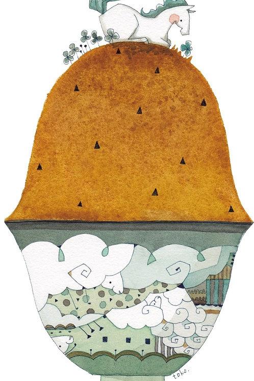 あおきさとこ  ちゃわんいっぱいの芝生 青陶器