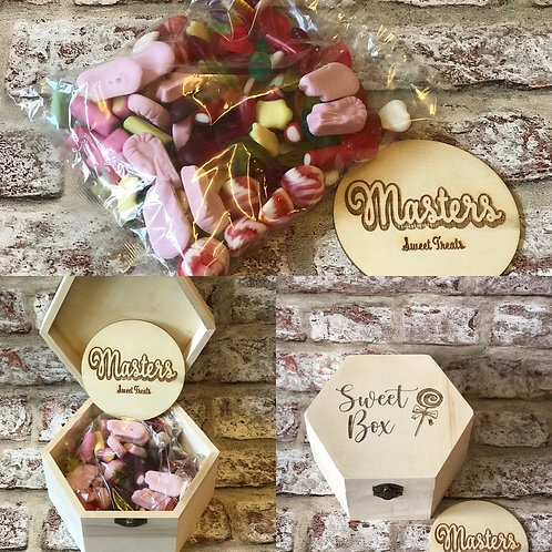 Wooden Sweet box filled with 400g of sweets in a heat sealer veg ware bag