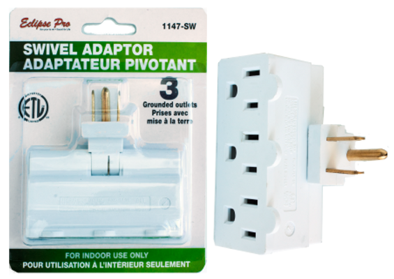 Eclipse Pro 3 Way Electrical Outlet Adapter w/Swivel