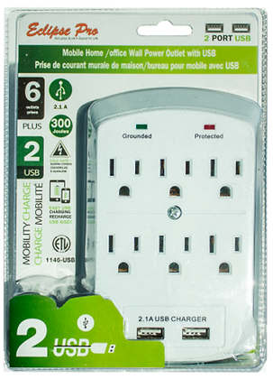 Eclipse Pro 6 Outlet Wall Tap W/2 USB