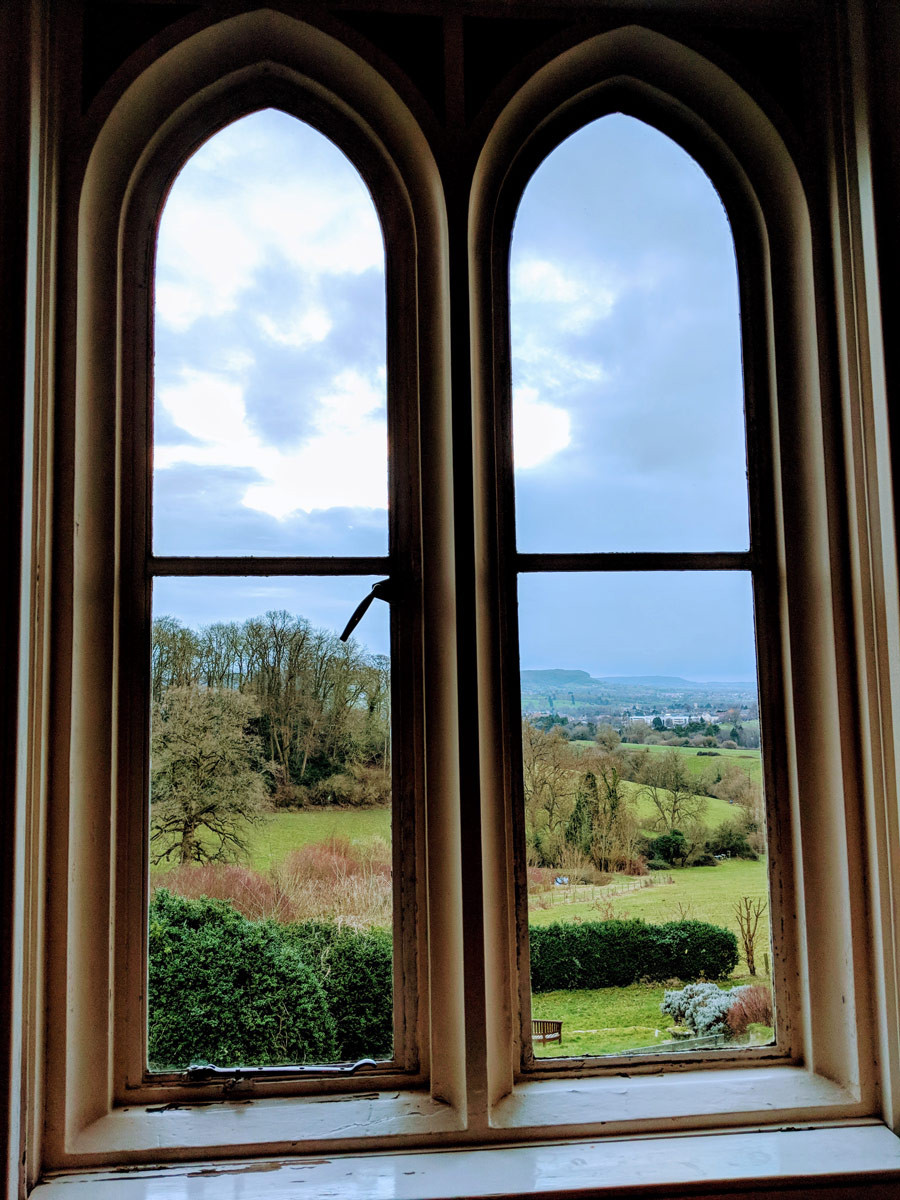 My view at Hawkwood, writing at 8am