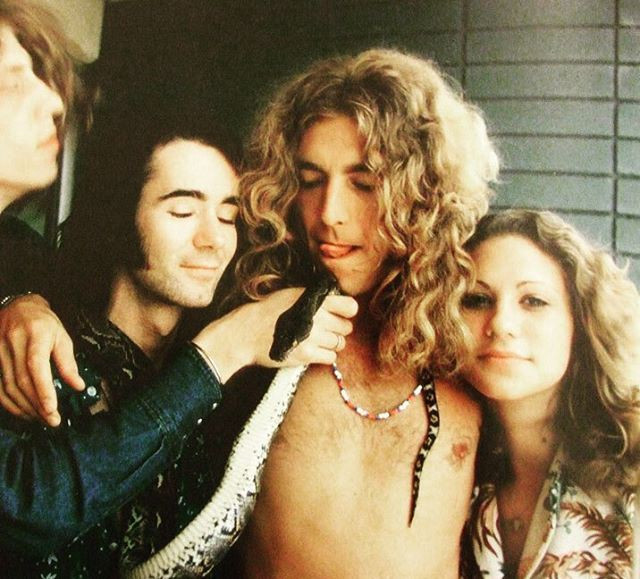 Robert Plant, BP Fallon and Vanessa Gilbert on the balcony of the Continental Hyatt House, 1973