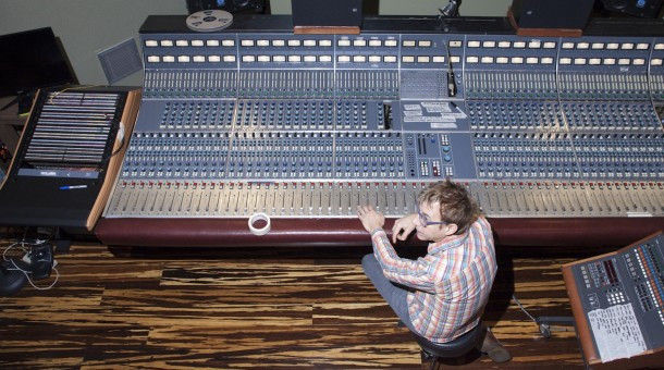 John Vanderslice and his rescued Neve 8068 from The Plant Studios.