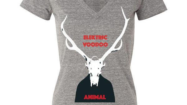 Women's - Grey - V Neck Elektric Voodoo - Animal T-Shirt