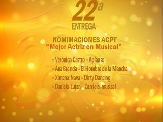 Daniela Luján Nominada como mejor actriz en teatro musical por la ACPT
