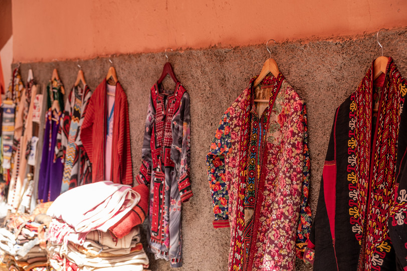 Hand made garments sold in the souks