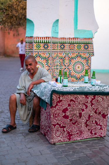 Selling rose water in Marrakech