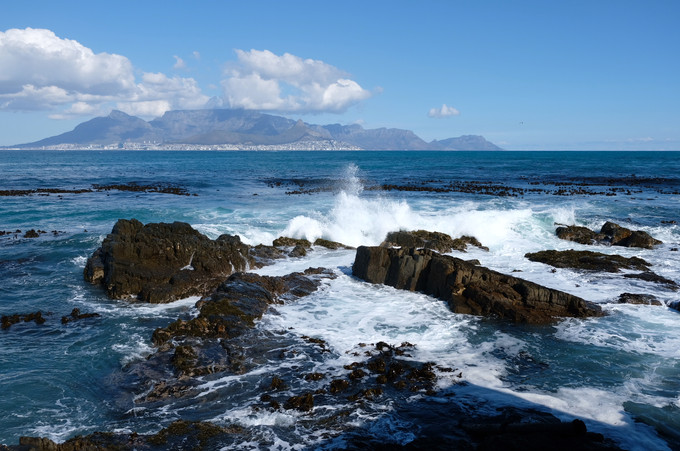 View from Robben Island on Cape Town and Table Mountain