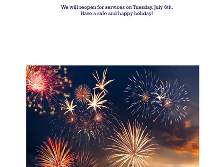 4th of July/Independence Holiday Closures