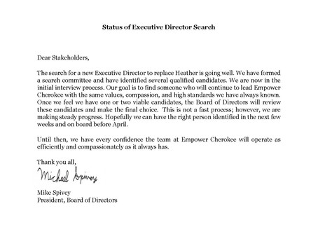STATUS OF EXECUTIVE DIRECTOR SEARCH