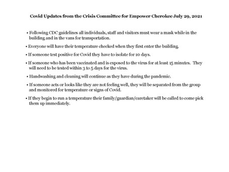COVID Updates from Crisis Committee - Empower Cherokee