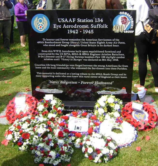 Memorial wreaths honour the 2nd Air Division in Suffolk, U.K.