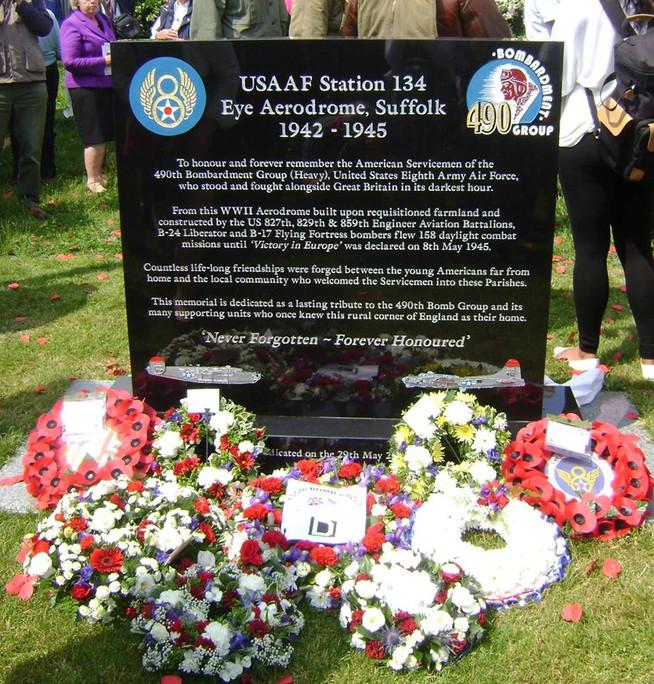 Memorial wreaths honour the 2nd Air Division in Suffolk, U.K.