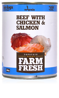 Farm Fresh beef with chicken & salmon