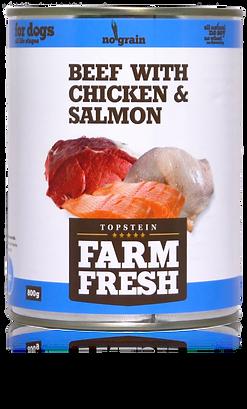 Farm Fresh beef with chicken & salmon