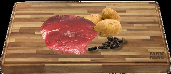 90% klokaní maso a produkty živočišného původu (20% maso ze svaloviny, 70% z různých částí - plíce, játra, maso ze svaloviny, zelenina a zeleninové produkry, minerály, oleje a tuky
