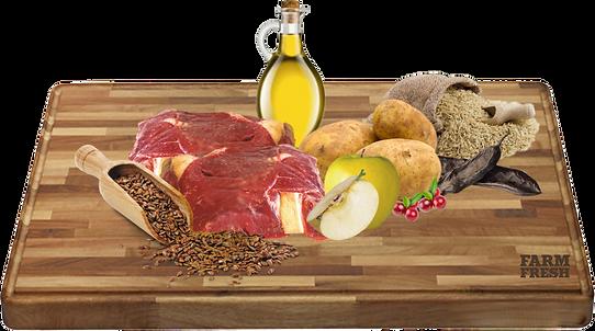 Sušené maso ze soba (14%) sušené brambory, extrakt živočišného proteinu, rýže, hrášek, drůbeží tuk, protein z hrášku, sušené řepné řízky, sušené drůbeží maso, sušené lusky svatojánského chleba, lněné semínko, pivovarské kvasnice, sušená vejce, lososový olej, hydrolyzovaná kuřecí játra, brusinky, sušená jablka, inulin (zdroj FOS), spirulina, echinacea, chondroitin, glukosamin.