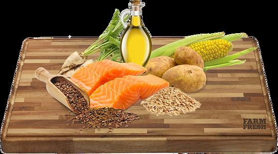 Losos 36,5% (čerstvý losos 24%, lososová moučka 12,5%), brambory 26%, oves, kukuřice, sušené řepné řízky,drůbeží tuk, minerály, lososový olej, vitamíny.
