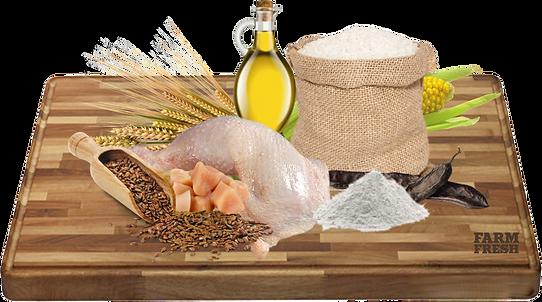 Sušené kuřecí maso (31%), kukuřice (4%), živočišný tuk, ječmen, sušené řepné řízky, rýže, lněné semínko, sušené lusky svatojánského chleba, pivovarské kvasnice.