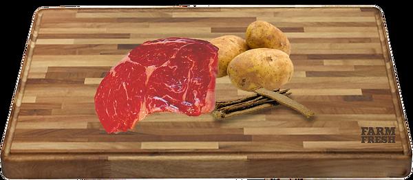 90% koňské maso a produkty živočišného původu (min. 20% koňské maso ze svaloviny, 70% z různých částí-plíce, játra, svalovina), zelenina a zeleninové produkty, minerály