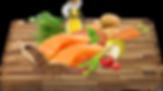 Čerstvý losos (20%), sušené brambory, bramborový škrob, hrášek, sušený losos, hrachová bílkovina, sušené řepné řízky, drůbeží tuk, pivovarské kvasnice, lososový olej, sušené lusky svatojánského chleba, hydrolyzovaná drůbeží játra, lněné semínko, sušené sladké brambory, sušená vejce, sušená rajčata, minerální látky, sušená mrkev, brusinky, sušená jablka, inulin (zdroj FOS), tymián, kopřiva, spirulina, echinacea, chondroitin, glukosamin.