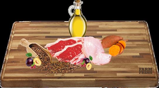 Maso a vedlejší produkty z masa 49% jehně, 10% králík, 5% sladké brambory, 3% švestky, 3% brusinky, minerální látky