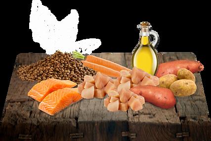 Kuře a losos 75% (z toho 20% čerstvé kuřecí maso, 19% kuřecí moučka, 17% čerstvý losos, 10% moučka z lososa, 5% kuřecí tuk, 2% kuřecí živočišné vedlejší produkty, 2% lososový olej), sladké brambory 21%, brambory, pivovarské kvasnice, minerály a vitamíny, mrkev, extrakt z juky 190mg/kg.