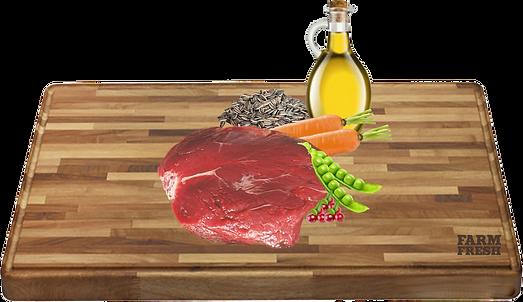 klokaní maso a vedlejší produkty z klokana, brusinky 8%, mrkev 3%, hrášek 2%, minerální látky 1%, slunečnicový olej 0,2%