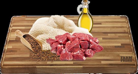 Maso a vedlejší produkty z masa 50% hovězí maso, 20% hovězí dršťky, minerální látky, oleje a tuky (lněný olej 0,1%)