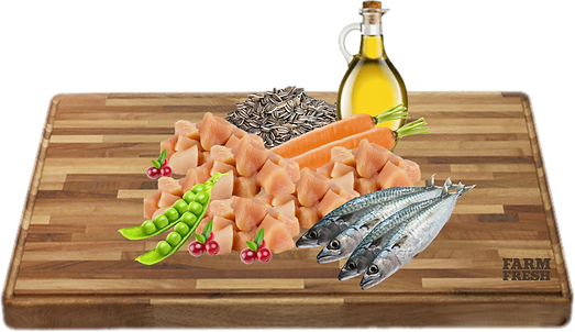 kuře, sleď a vedlejší produkty z kuřete a sledě, brusinky 5%, mrkev 3%, hrášek 2%, minerální látky 1%, slunečnicový olej 0,2%