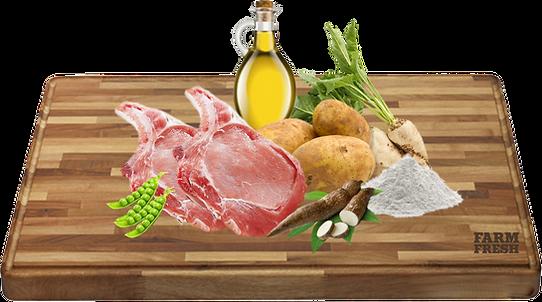 30% čerstvé vepřové maso, 18% dehydrované vepřové maso, 15% brambory, tapioka, 11,75% dehydrované vepřové, hrášek, kuřecí tuk, hrachová bílkovina, pivovarské kvasnice, hydrolyzovaná vepřová bílkovina, cukrovarské řepné řízky, karob, lososový olej, celulóza, minerály, 0,1% mannan-oligosacharidy, 0,1% inulin z čekanky – zdroj FOS, 0,02% glukosamin, 0,01% chondroitin sulfát, 0,01% juka schidigera.