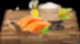 Losos (z toho čerstvý losos 15%), kukuřice, rýže, hrášek, drůbeží tuk, pivovarské kvasnice, sušené řepné řízky, sušené lusky svatojánského chleba, lněné semínko, sušená vejce, lososový olej, inulin (zdrojFOS), brusinky, chondroitin, glukosamin.