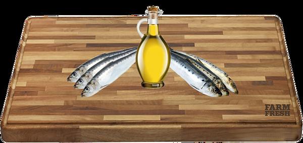 100% olej z ančoviček a sardinek