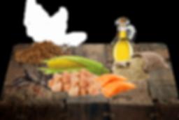 Kuře a Ryba 40%, kukuřice, pšeničná mouka, kukuřičný lepek, rýže, cukrovarské řízky,pivovarské kvasnice, sušené vejce, celulóza, minerály, vitamíny, sůl, FOS, glukosamin,metylsulfonylmetan, chondroitin sulfát, MOS.
