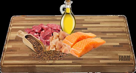 Maso a vedlejší produkty z masa 39% hovězí maso, 21% kuřecí maso, ryby a vedlejší produkty z ryb (10%losos), minerální látky