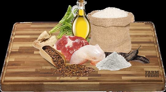 Rýže, sušené krůtí maso, drůbeží tuk, sušené řepné řízky, lněné semínko, sušená ryba, pivovarské kvasnice, chondroitin, glukosamin, taurin, L-karnitin, Lecitin.