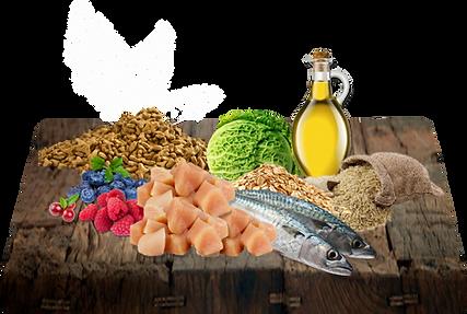 Kuřecí moučka 24%, moučka z mořských ryb 23%, ovesná mouka 23%, hnědá rýže 23%, kuřecí k (konzervován pomocí tokoferolů), difosforečnan vápenatý, borůvka, maliny, brusinky, kapusta, kvasničný extrakt (zdroj přírodních probiotik).
