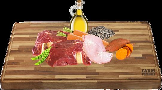 zvěřina, králík a vedlejší prod. ze zvěřiny a králíka, sladké brambory 5%, mrkev 3%, hrášek 2%, minerální látky 1%, slunečnicový olej 0,2%